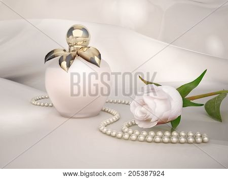 Perfume bottle white rose flower and string of pearls located on light gray background. 3D illustration