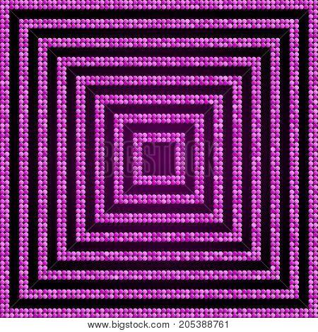 Concentric Square Pink Purple Violet Mosaic Sequin Glitter Sparkle Star Elements Background. Web Design.