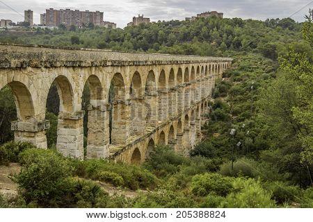 roman aqueduct, built on the 21st century BC located in Tarragona, Barcelona, Spain