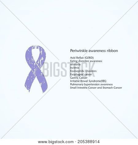 Periwinkle Awareness ribbon. Painted. Acid Reflux, GERD, Eating disorders, anorexia, bulimia, Eosinophilic, Esophageal, Gastric Small Intestine, Stomach cancer. List of meanings, symbol, name of color