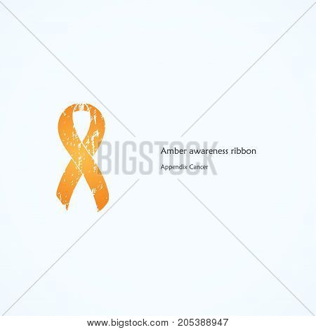 Amber Awareness Ribbon. Painted. Appendix Cancer. Isolated icon. List of meanings, symbol, name of color.