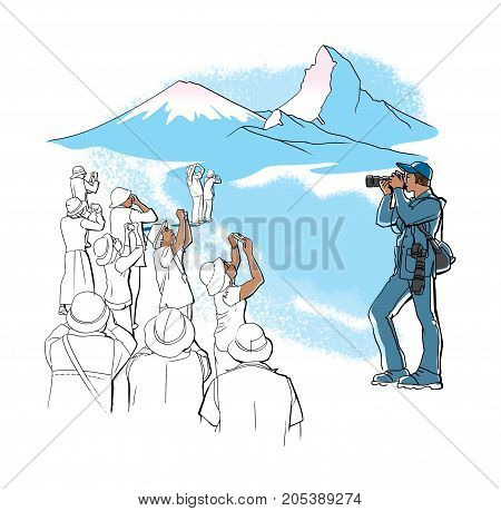 A crowd of tourists takes pictures of a photographer photographing the mountains. Flat design linear graphic isolated on white background