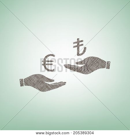 Currency exchange from hand to hand. Euro and Lira. Vector. Brown flax icon on green background with light spot at the center.
