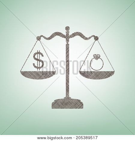 Ring jewelery and dollar symbol on scales. Vector. Brown flax icon on green background with light spot at the center.