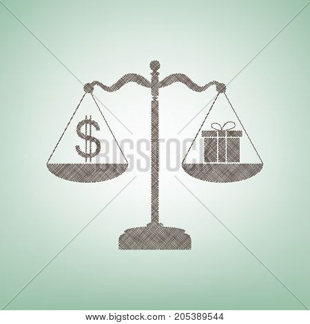Gift and dollar symbol on scales. Vector. Brown flax icon on green background with light spot at the center.