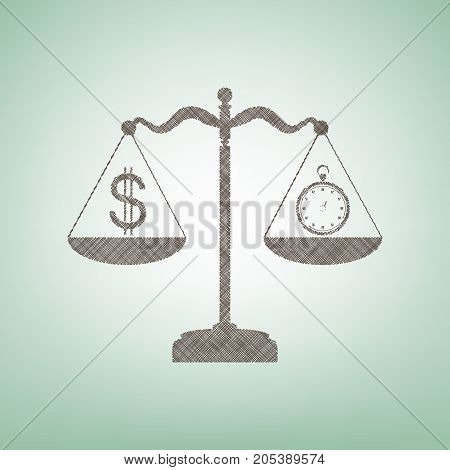 Stopwatch and dollar symbol on scales. Vector. Brown flax icon on green background with light spot at the center.