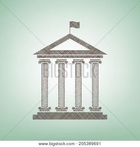 Historical building with flag. Vector. Brown flax icon on green background with light spot at the center.