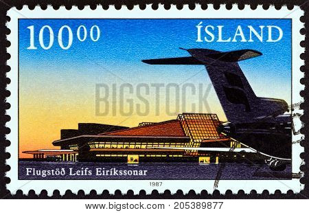 ICELAND - CIRCA 1987: A stamp printed in Iceland issued for the opening of Leif Erikson terminal, Keflavik Airport shows terminal and Boeing 727 tail, circa 1987.