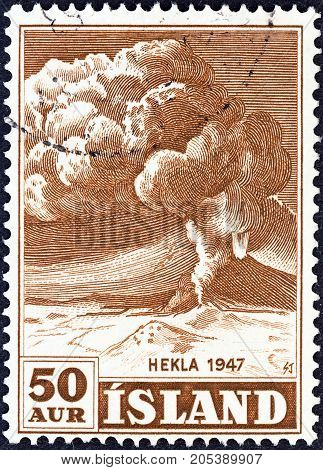ICELAND - CIRCA 1948: A stamp printed in Iceland shows Mt. Hekla in Eruption, circa 1948.
