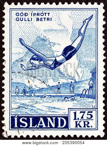 ICELAND - CIRCA 1955: A stamp printed in Iceland from the