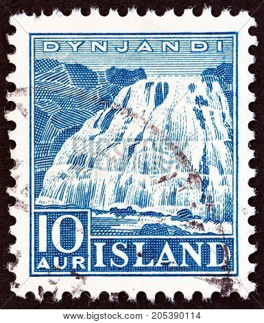 ICELAND - CIRCA 1935: A stamp printed in Iceland shows Dynjandi Waterfall, circa 1935.