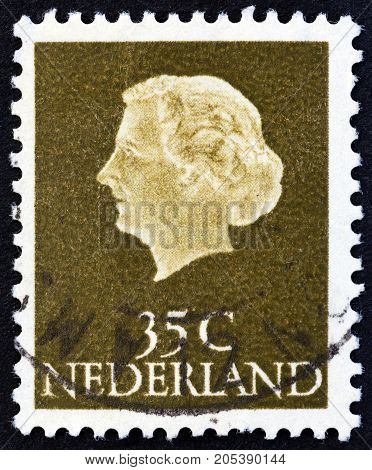 NETHERLANDS - CIRCA 1954: A stamp printed in the Netherlands shows Queen Juliana, circa 1954.