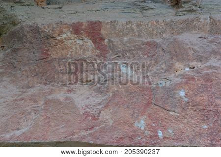 3000 year-old cliff paintings. Pha Taem The Prehistorical Painting Cliff Tourist Attraction in Ubonratchathani Thailand