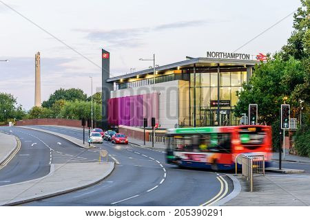 Northampton, UK - Aug 31, 2017: Early Morning view of New Northampton Train Station
