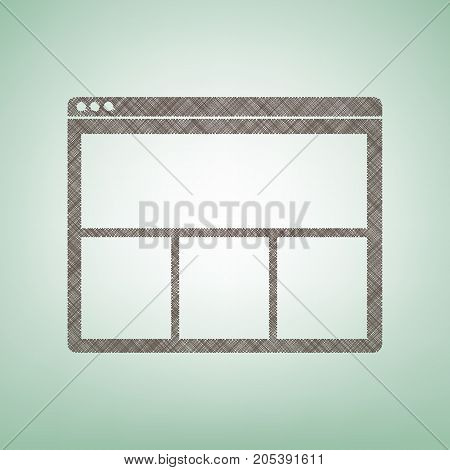 Web window sign. Vector. Brown flax icon on green background with light spot at the center.
