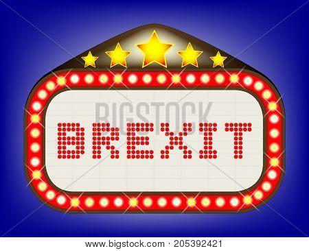 A UK EU Brexit movie theatre or theatre marquee.
