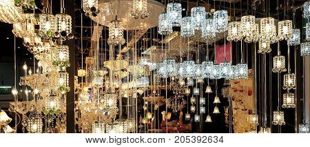 Beautiful crystal chandelier. Sparkle chandelier and gold light.