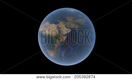 Africa and Eurasia on the ball of the Earth the Arabian Peninsula in the center an isolated globe 3D rendering