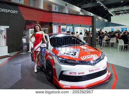 Bangkok Motor show Thailand - April 062017 : Toyota motor show booth.
