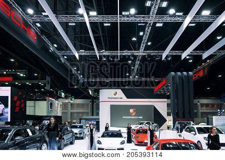 Bangkok Motor show Thailand - April 062017 : Porsche motor show booth.