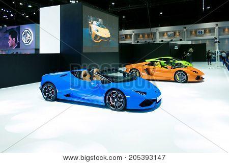 Bangkok Motor show Thailand - April 062017 : Lamborghini motor show booth.