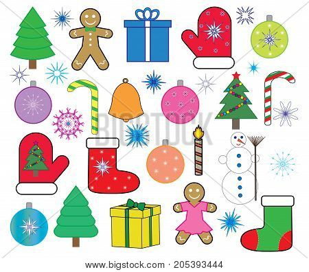 Christmas (new year) icons set , vector.