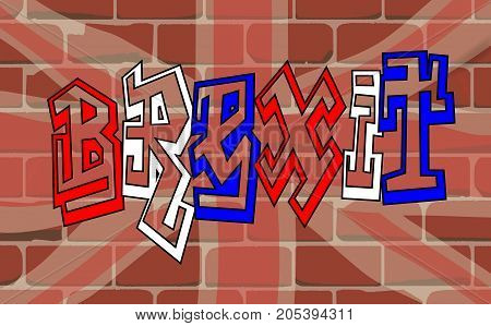 The Union Jack and Brexit graffit on a brick wall