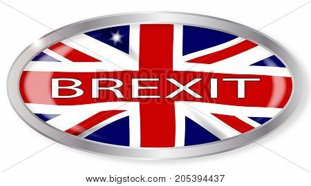 Oval silver button with the Union Jack flag isolated on a white background