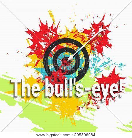 Hit a bull's-eye. Color spots. Grunge vector illustration