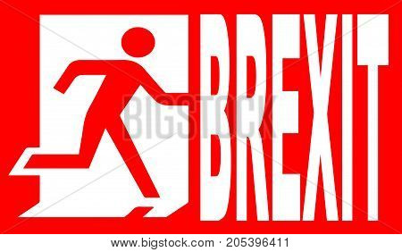 A red emergency brexit sign over a white background
