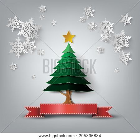 Christmas Greeting Card. Merry Christmas lettering.Christmas tree.