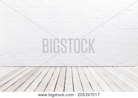 Exterior Wooden Decking Floor And White Brick Wall. Abstract Decoration Wall Texture And Background.
