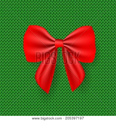 Red Satin Bow On A Knitted Background. Knitted Christmas Background. Happy New Year 2018. New Year S