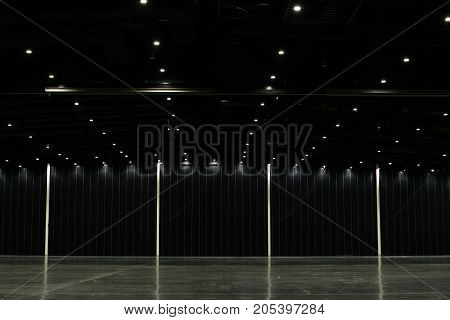 Black big clean empty industrial hall as warehouse or office space