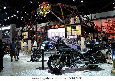 Bangkok Motor show Thailand Muang Thong Thani - March 302017 : Harley davidson show booth. touring style .