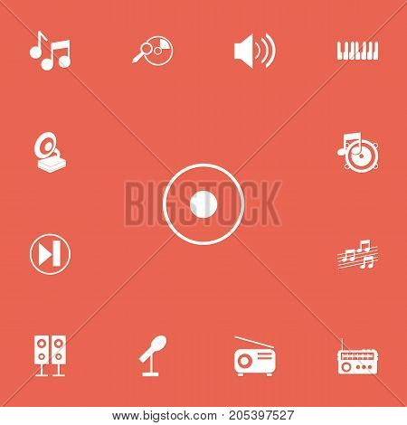 Set Of 13 Editable Melody Icons. Includes Symbols Such As Media Fm, Forward, Journalism Equipment And More