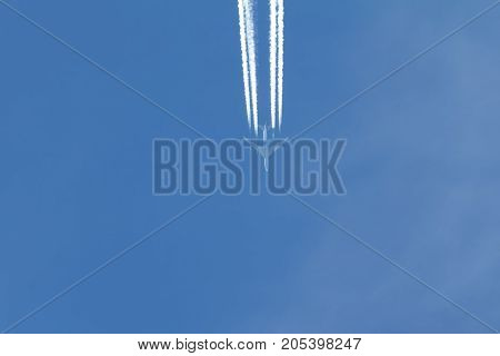 Jet is flying in the blue sky, horizontal shot