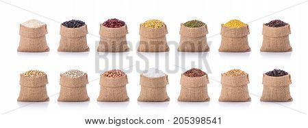 Collection Of Several Beans, Rice, Coffee In Small Sack. Studio Shot Isolated On White