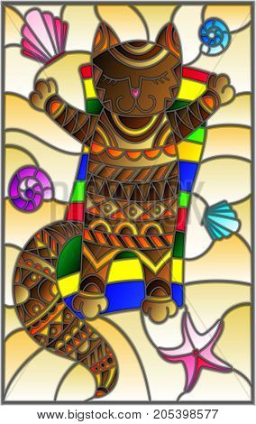 Illustration in stained glass style with a funny cat sunbathing on the sand among shells