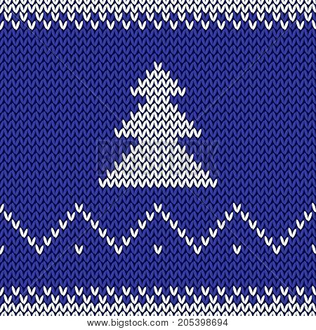 Knitted Christmas Background. Happy New Year 2018. New Year Seamless Knitted Pattern With Christmas