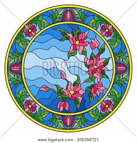 Illustration in stained glass style flowers on a background sky in a bright floral frame round picture