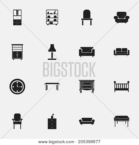 Set Of 16 Editable Furnishings Icons. Includes Symbols Such As Stool, Bookshelf, Glim And More