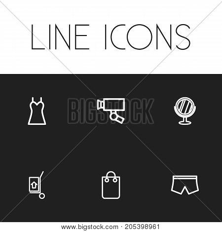 Set Of 6 Editable Trade Outline Icons. Includes Symbols Such As Dress, Surveillance, Mirror And More