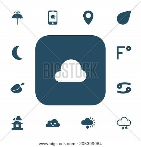 Set Of 13 Editable Weather Icons. Includes Symbols Such As Fahrenheit, Winter Parasol, Pinpoint And More