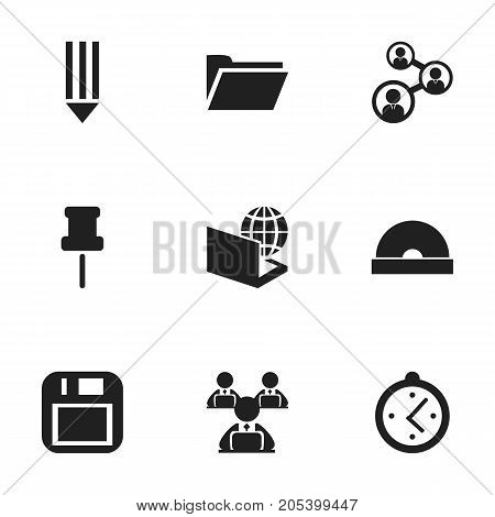 Set Of 9 Editable Office Icons. Includes Symbols Such As Watch, Floppy Disk, Staff And More