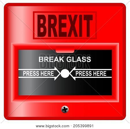 A 'break glass' brexit fire alarm style over a white background.