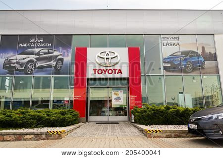 Prague, Czech Republic - September 23: Cars In Front Of Toyota Motor Corporation Dealership Building