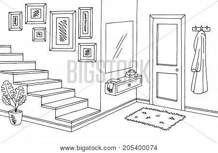 Hallway graphic black white interior sketch illustration vector
