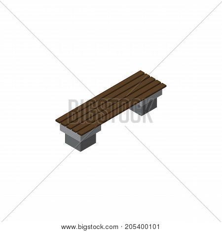 Bench Vector Element Can Be Used For Bench, Seat, Park Design Concept.  Isolated Seat Isometric.
