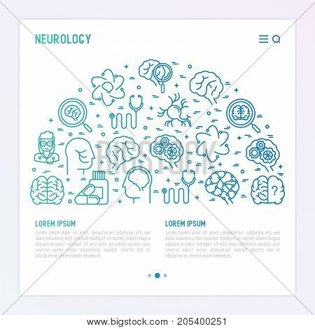 Neurology concept in half circle with thin line icons: brain, neuron, neural connections, neurologist, magnifier. Vector illustration for background of medical survey or report with place for text.